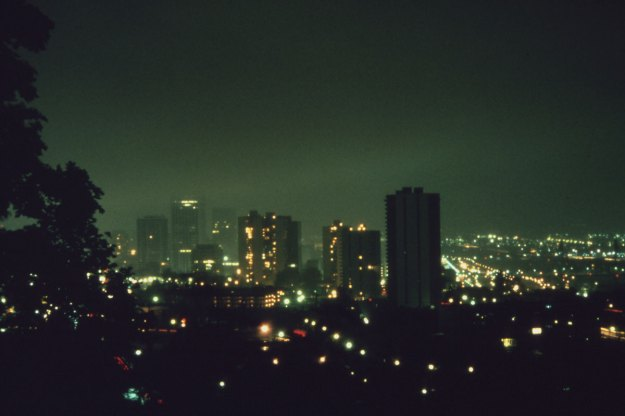 Overall view of downtown Portland, at 8 pm in October, 1973 showing lack of commercial lighting during the peak of the energy crisis. The ban was issued by executive order of Oregon's Governor, October 1973. David FalconerU.S. National Archives (412-DA-12954)