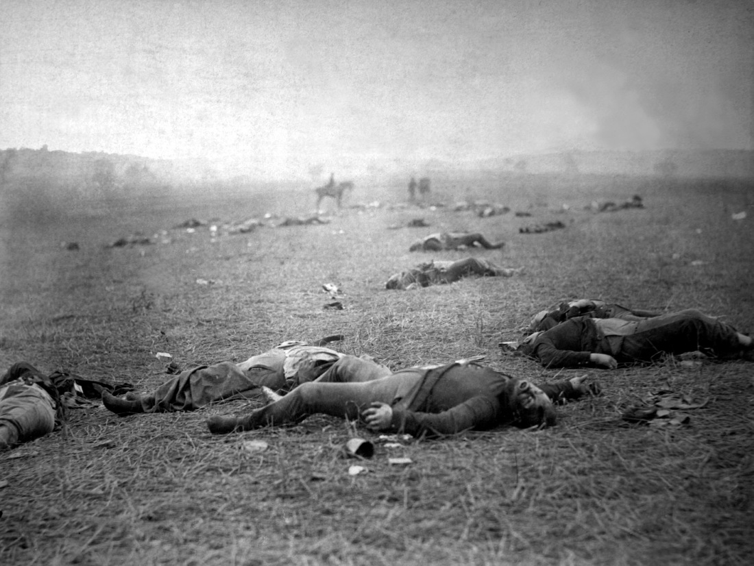The Harvest of Death: Union dead on the battlefield at Gettysburg, Pennsylvania, photographed July 5–6, 1863