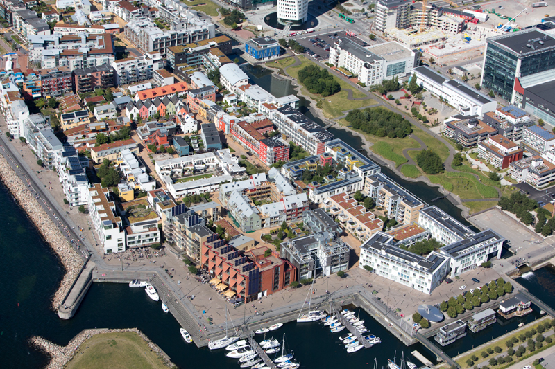Western Harbor, in Malmö, Sweden, is the first carbon-neutral neighborhood in Europe.